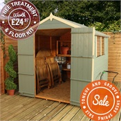 8 x 6 Waltons Tongue and Groove Double Door Apex Wooden Shed
