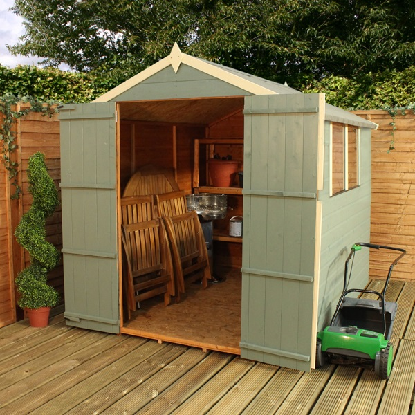 8 x 6 waltons tongue and groove double door apex wooden shed for Garden shed 8 x 6