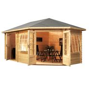 5m x 3m Waltons Right Sided Greenacre Lodge Plus Corner Log Cabin