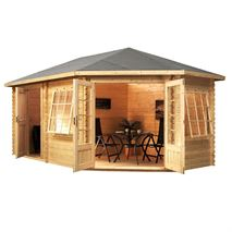 5m x 3m Waltons Right Sided Waltons Lodge Plus Corner Log Cabin