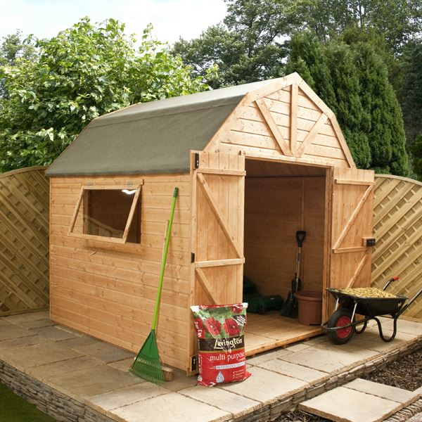 8 x 8 waltons dutch barn tongue and groove apex garden shed for Apex garden sheds