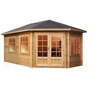 5 x 3 Waltons Right Sided Greenacre Lodge Grande Corner Log Cabin