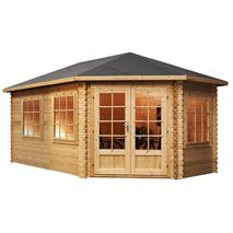 5 x 3 Waltons Right Sided Lodge Grande Corner Log Cabin