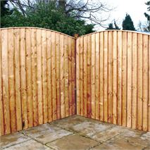 6ft x 6ft Waltons Vertical Feather Edge Curved Wooden Fence Panels