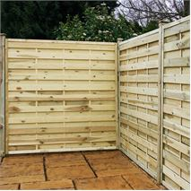 "4ft x 5'11"" Waltons Pressure Treated Horizontal Weave Garden Fencing"