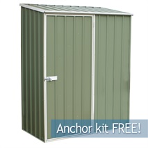 5ft x 2ft 7  Waltons Pale Eucalyptus Easy Build Pent Metal Shed