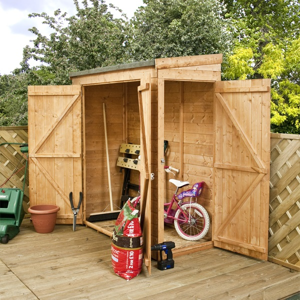 Oko bi wooden shed b q here for Small garden storage sheds