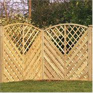 "5'11"" x 5'11"" Waltons PT Curved Chevron Weave with Trellis Fencing"