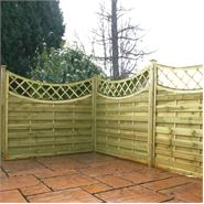"5' x 5' 11"" Waltons PT Concave Horizontal Weave with Trellis Fencing"