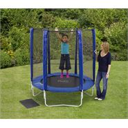 6ft Plum Products Blue Trampoline and Enclosure