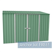 "9' 10"" x 5' Waltons Pale Eucalyptus Easy Build Pent Metal Shed"