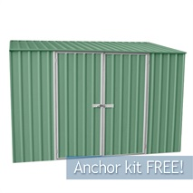 9ft 10  x 5ft Waltons Pale Eucalyptus Easy Build Pent Metal Shed