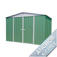 "9' 10"" x 12' Waltons Pale Eucalyptus Easy Build Apex Metal Shed"