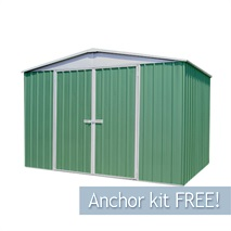 9ft 10  x 12ft Waltons Pale Eucalyptus Easy Build Apex Metal Shed