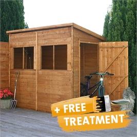 8' x 4' Pent Shed Unit