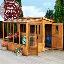 8 x 8 Waltons Tongue and Groove Combi Greenhouse and Wooden Shed