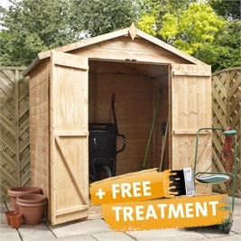 4' x 6' Tongue and Groove Reverse Apex Wooden Shed