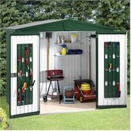 "9' 7"" x 9' 7"" StoreMore Europa Green Apex Metal Shed"