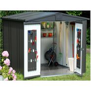 "2' 6"" x 7' 3"" StoreMore Europa Dark Grey Apex Metal Shed"