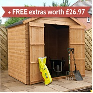 5' x 7' Walton's Select Tongue and Groove Apex Double Door Garden Shed