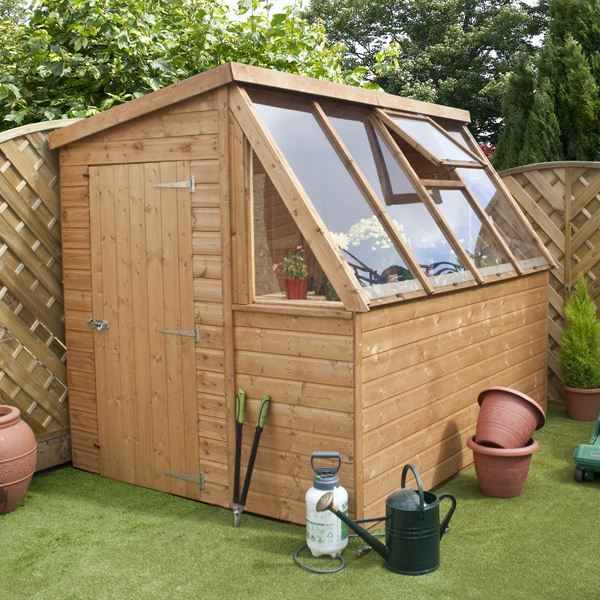 Wooden potting shed greenhouse shed plans 10x12 cheap Green house sheds