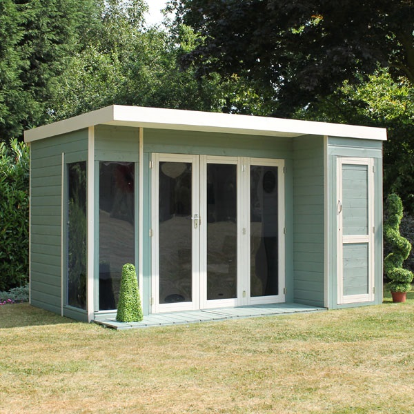 12 x 8 waltons contemporary summerhouse with side shed rh for Garden designs with summer houses
