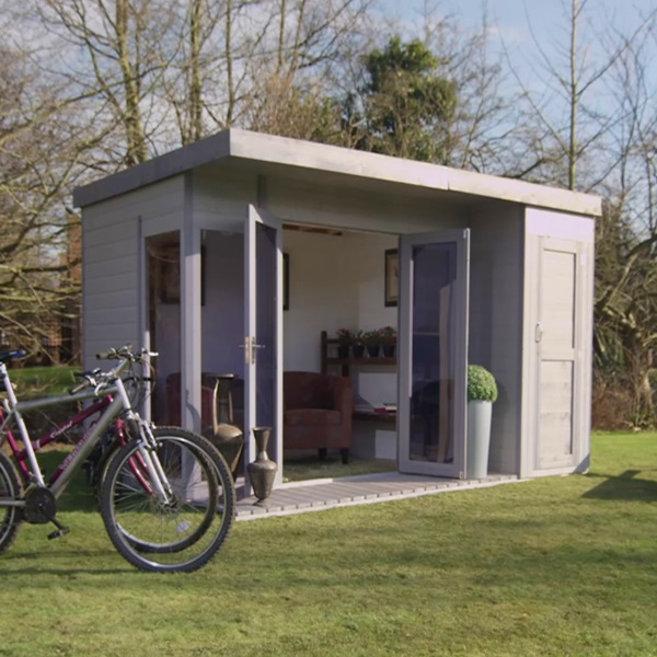 12 x 8 waltons contemporary summerhouse with side shed rh for Corner garden rooms uk