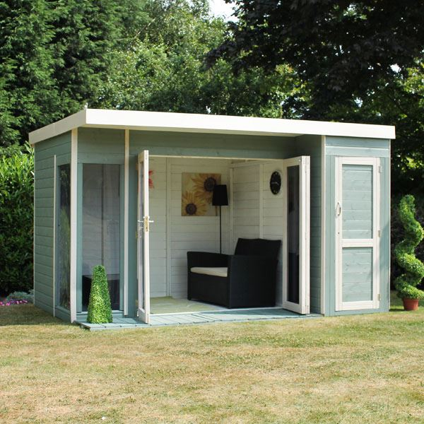 12 x 8 waltons contemporary summerhouse with side shed rh for Side of the house storage shed