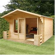 3.4m x 3.3m Waltons Standard Log Cabin Studio with Veranda