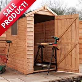 6 x 4 Waltons Overlap Apex Wooden Garden Shed (Dressed for display only)