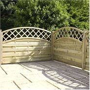 "4ft x 5'11"" Waltons PT Convex Horizontal Weave with Trellis Fencing"