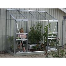 4 x 8 Vitavia Ida 3300 Silver Lean-to Glass Greenhouse