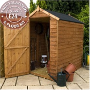 6 x 4 Waltons Windowless Overlap Apex Wooden Shed