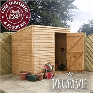 8 x 6 Waltons Windowless Overlap Pent Wooden Shed