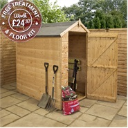 6 x 4 Waltons Windowless Tongue and Groove Apex Wooden Shed
