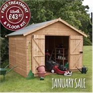 10 x 10 Waltons Groundsman Windowless Tongue and Groove Workshop