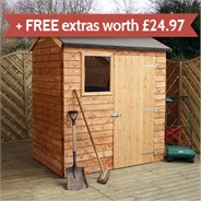 6' x 4' Walton's Reverse Overlap Apex Wooden Shed