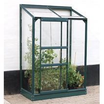 2 x 4 Vitavia Ida 900 Green Lean-to Glass Greenhouse