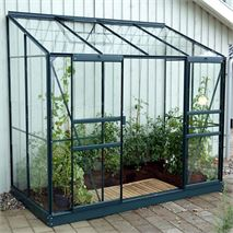 4 x 8 Vitavia Ida 3300 Green Lean-to Glass Greenhouse