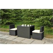 2 Seater Cannes Ebony Black Breakfast Furniture Set