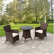 3 Piece Cannes Mocha Brown Bistro Garden Furniture Set
