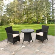3 Piece Cannes Ebony Black Bistro Garden Furniture Set