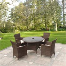 5 Piece Cannes Mocha Brown Garden Dining Set