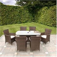 7 Piece Cannes Mocha Brown Garden Dining Set