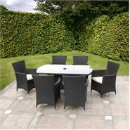 7 Piece Cannes Ebony Black Garden Dining Set