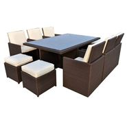 8 Seater Cannes Mocha Brown Dining Set