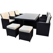 8 Seater Cannes Ebony Black 8 Seat Garden Dining Set