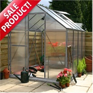 4 x 6 Waltons Silver Extra Tall Polycarbonate Greenhouse - With FREE Base!