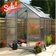 8 x 6 Waltons Silver Extra Tall Polycarbonate Greenhouse - With FREE Base!