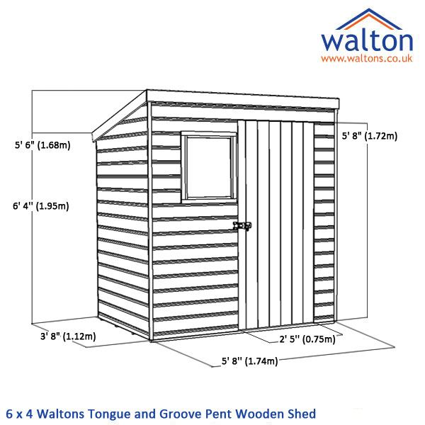 6 X 4 Waltons Tongue And Groove Pent Wooden Shed